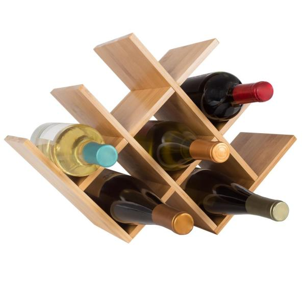 Classic Cuisine 8-Bottle Tabletop Free Standing Bamboo Wine Rack HW031057