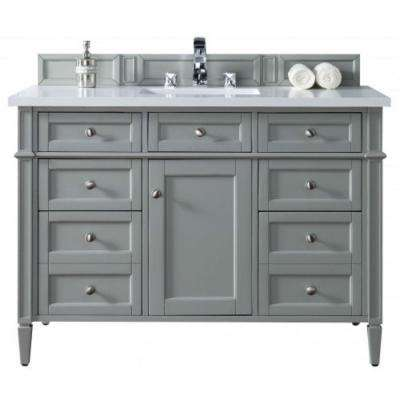 Brittany 48 in. W Single Vanity in Urban Gray with Quartz Vanity Top in White with White Basin