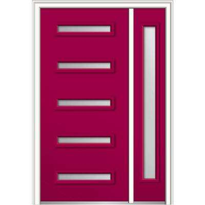 50 in. x 80 in. Davina Low-E Glass Right-Hand Inswing 5-Lite Modern Painted Steel Prehung Front Door with Sidelite