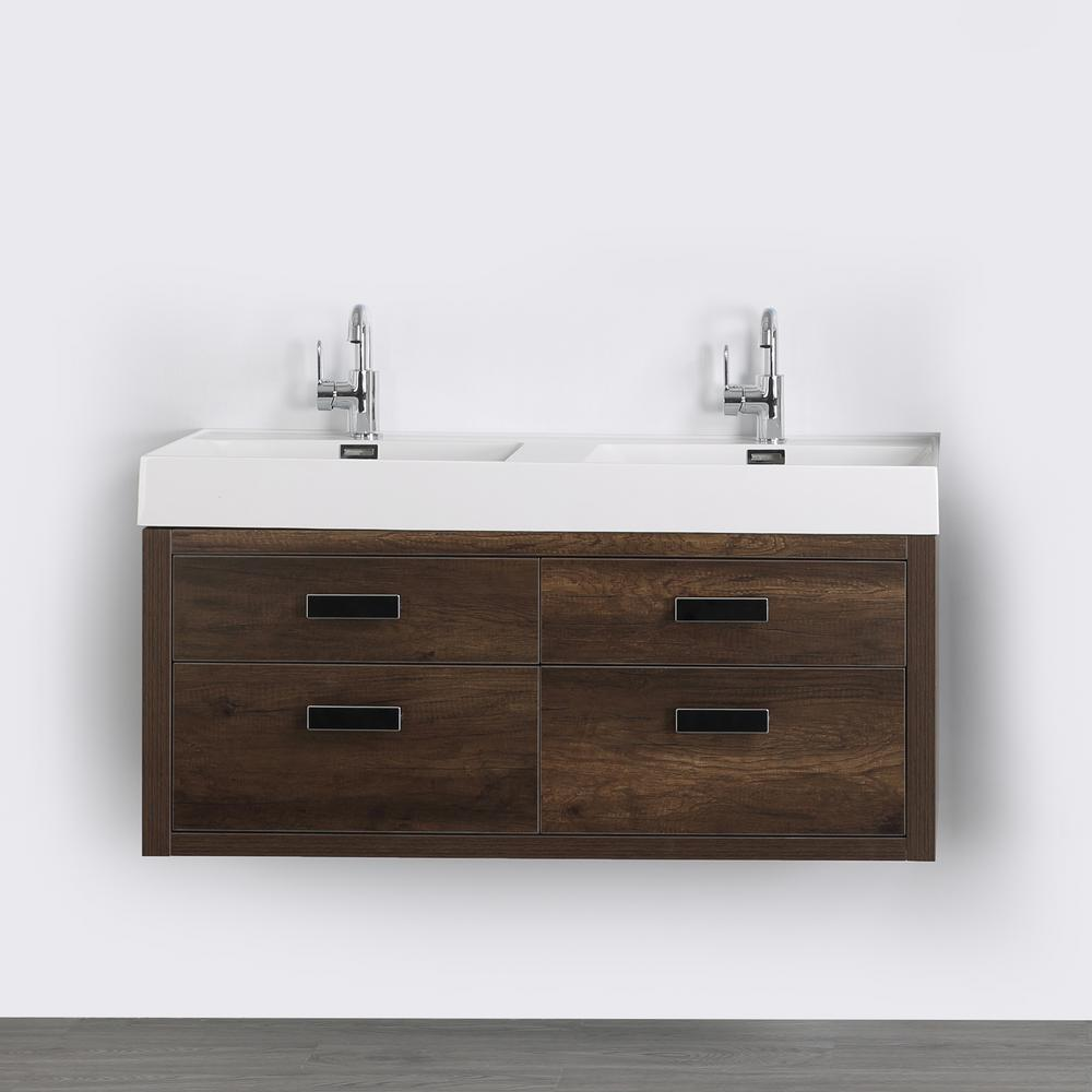Streamline 47.2 in. W x 19.3 in. H Bath Vanity in Brown with Resin Vanity Top in White with White Basin