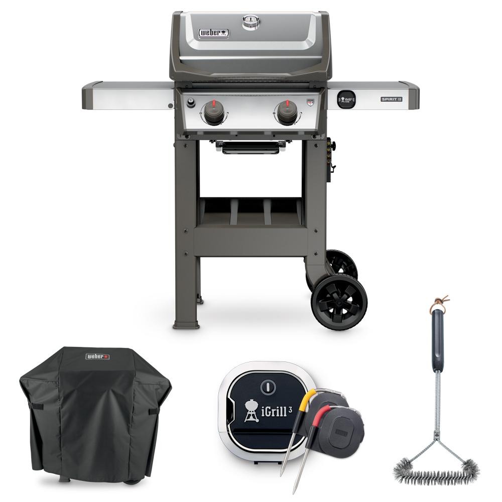 weber spirit ii s 210 liquid propane grill combo with grill brush cover and igrill 3. Black Bedroom Furniture Sets. Home Design Ideas