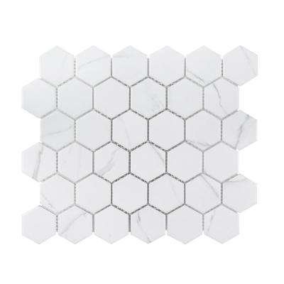 Whisper Valley White 11 in. x 12.687 in. x 6 mm Hexagon Matte Porcelain Wall and Floor Mosaic Tile