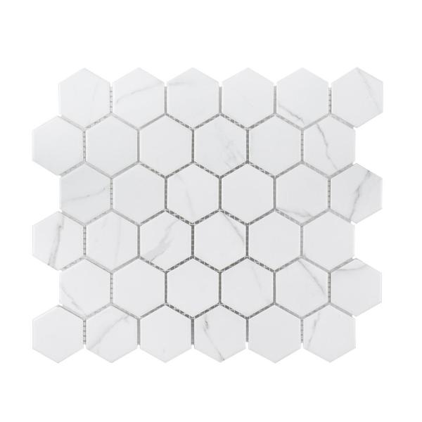 Whisper Valley White 11 in. x 12.625 in. Hexagon Matte Porcelain Wall and Floor Mosaic Tile (0.964 sq. ft./Each)