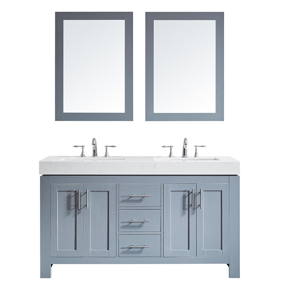 Es 60 In W X 22 D Bath Vanity Grey With Quartz Top White Basinirrors