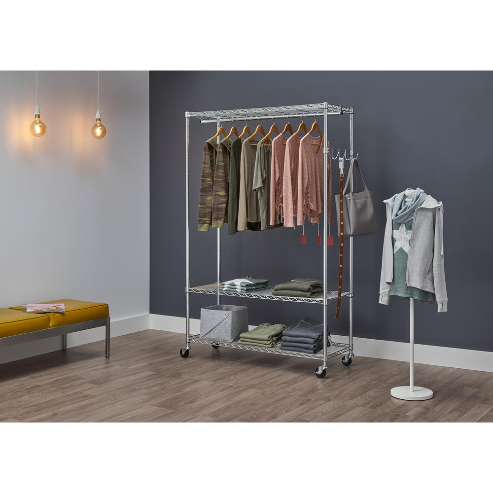 """Industrial Pipe Rolling Clothing Rack Silver Pipe 48/"""" Wide"""