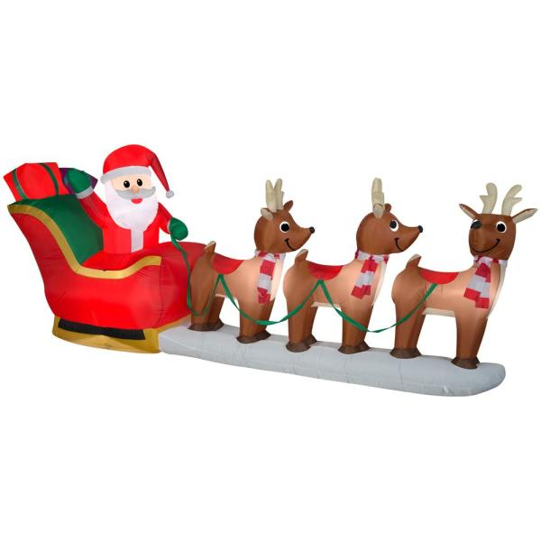 12 ft Pre-Lit LED Giant-Sized Inflatable Santa and Sleigh Scene