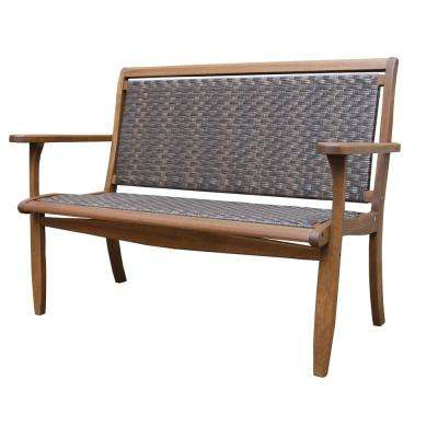 Brown Wicker and Eucalyptus Outdoor Bench