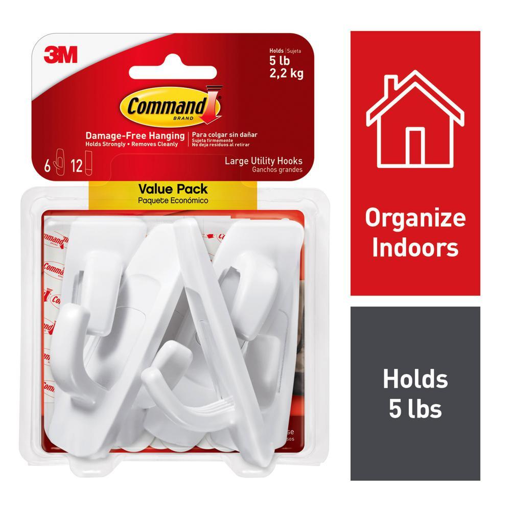 Large White Utility Hook Value Pack (6 Hooks, 12 Strips)
