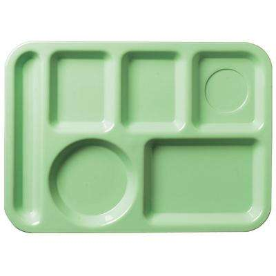 13.87x9.87 in. ABS Plastic Left Hand 6-Compartment Tray in Green (Case of 24)