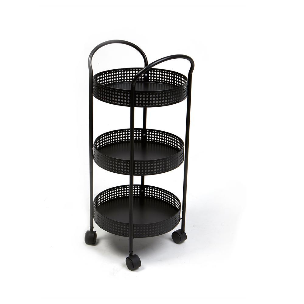 Mind Reader 3-Tier Metal Multi-Purpose Utility Cart with Wheels, Kitchen  Storage Cart, Office Cart, Crafts Cart in Black