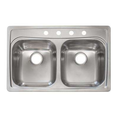 Essentials Drop-In Stainless Steel 33-in. 4-Hole 50/50 Double Bowl Kitchen Sink in Satin Stainless Steel