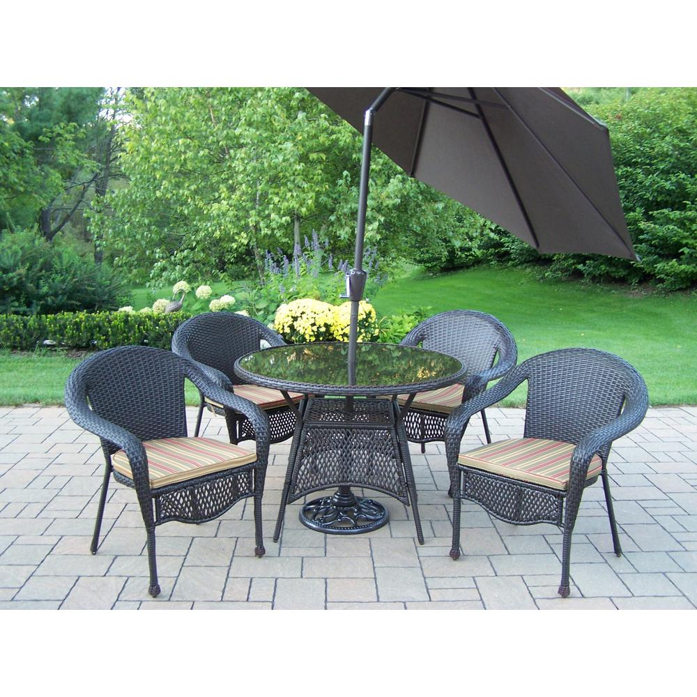 7-Piece Wicker Outdoor Dining Set with Green Striped Cushions and Brown