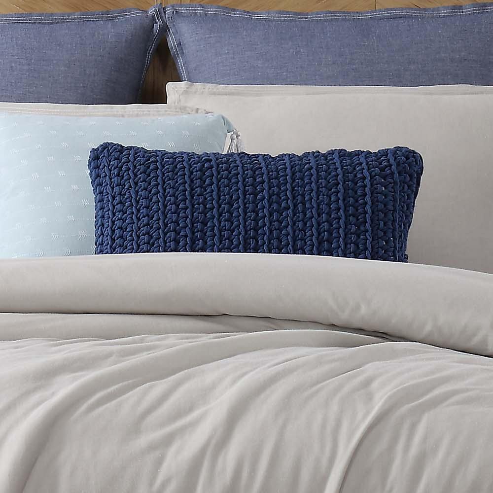 Chambray Loft Blue Rectangle Pillow