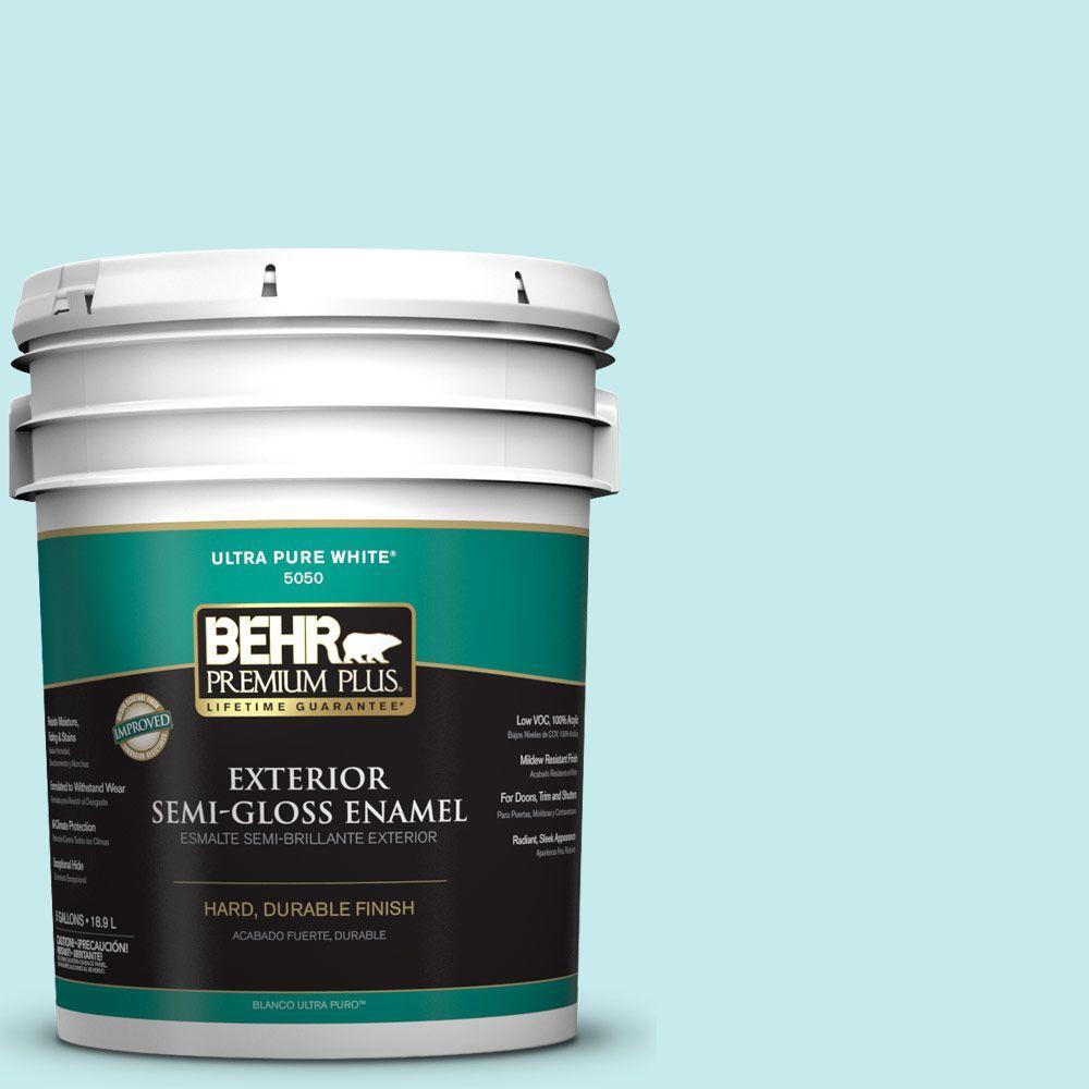 BEHR Premium Plus 5-gal. #P460-1 Morning Sky Semi-Gloss Enamel Exterior Paint