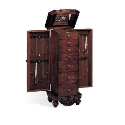 Queen Anne Brown Red Jewelry Armoire