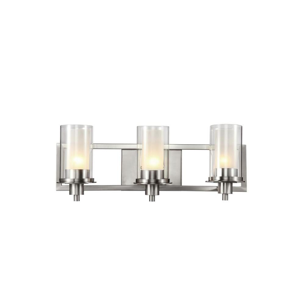 Cabernet Collection 3-Light Brushed Nickel Bath Bar Light with Frosted Inner