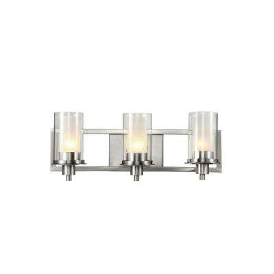 Cabernet Collection 3-Light Brushed Nickel Bath Bar Light with Frosted Inner Glass Shade