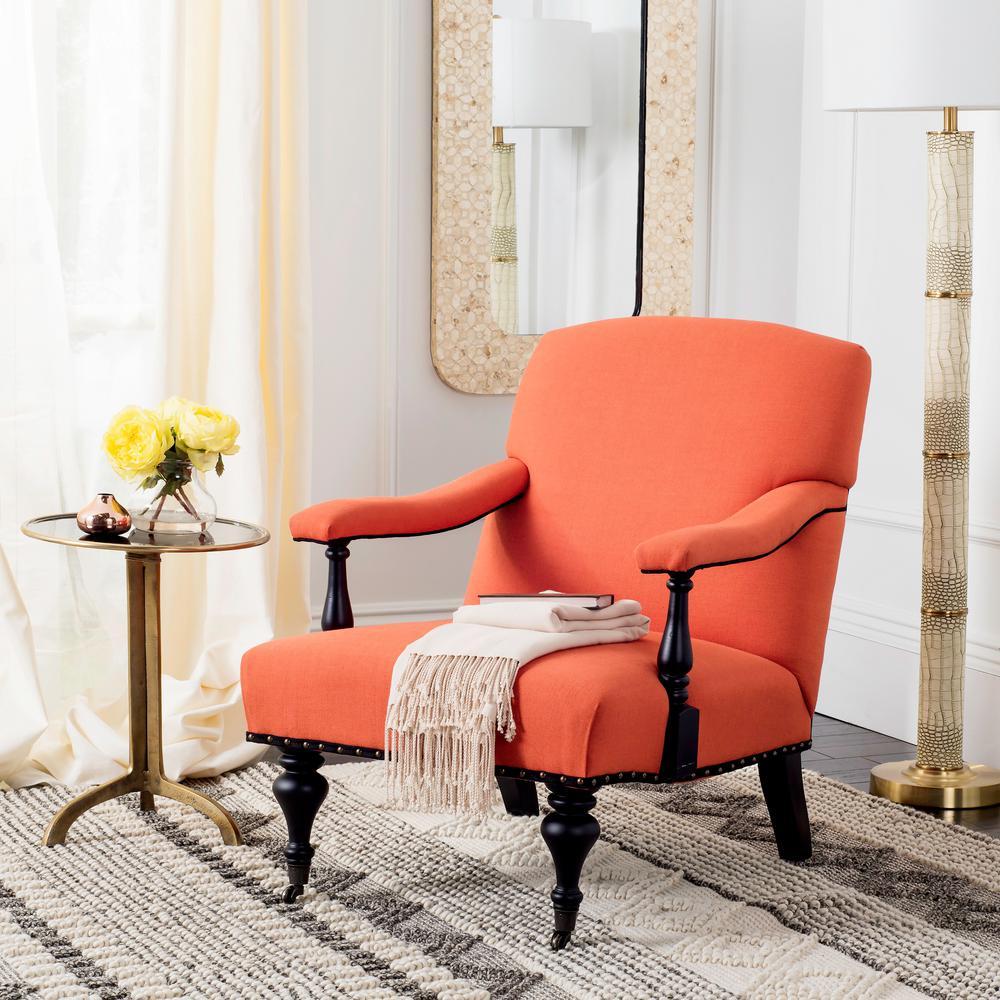 Safavieh Devona Orange and Black Polyester/Linen Arm Chair