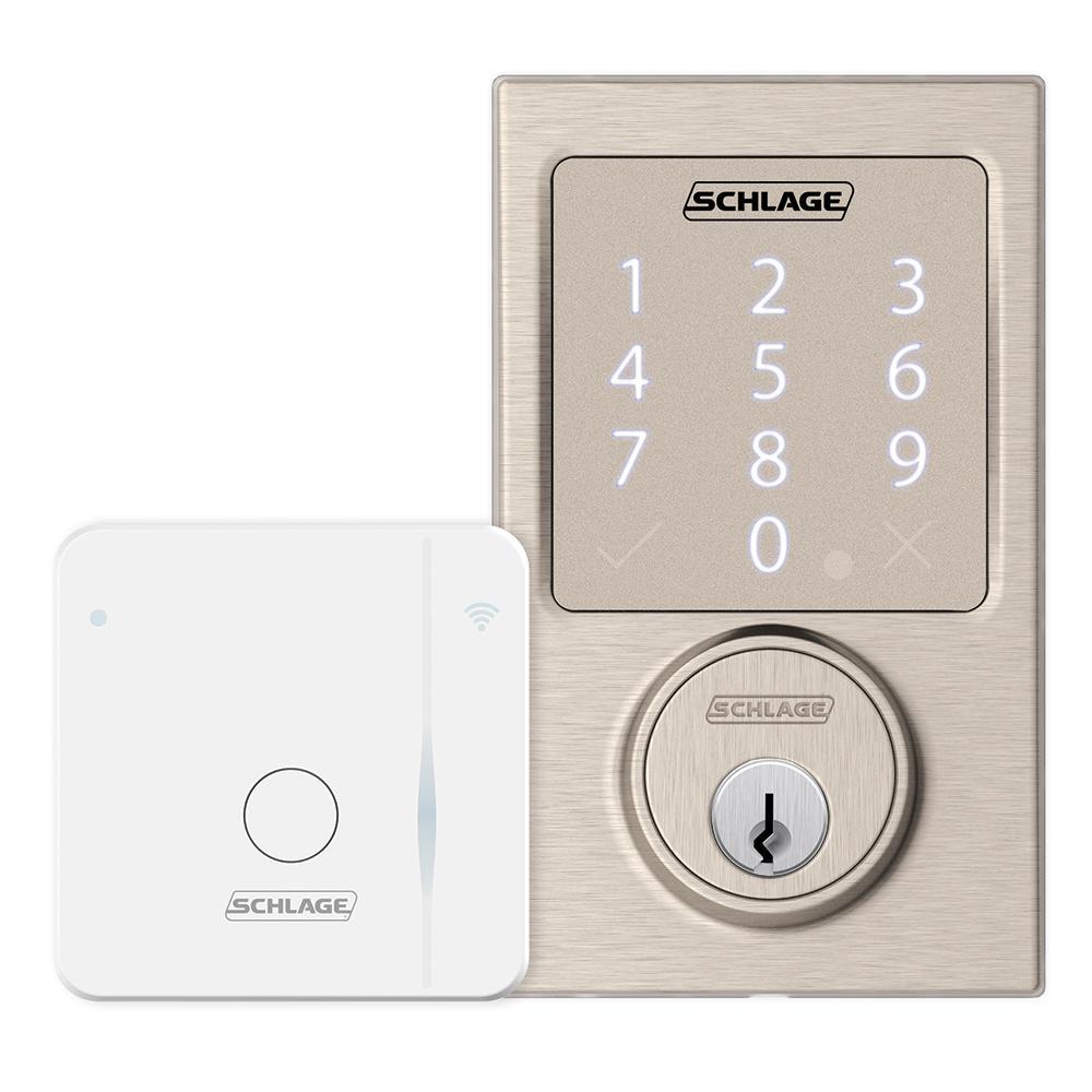 Century Satin Nickel Sense Smart Door Lock and Wi-fi Adapter Bundle