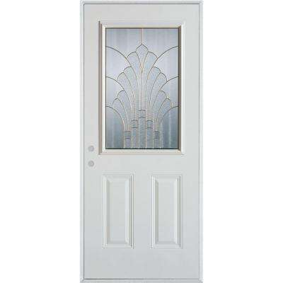 33.375 in. x 82.375 in. Art Deco 1/2 Lite 2-Panel Painted White Steel Prehung Front Door