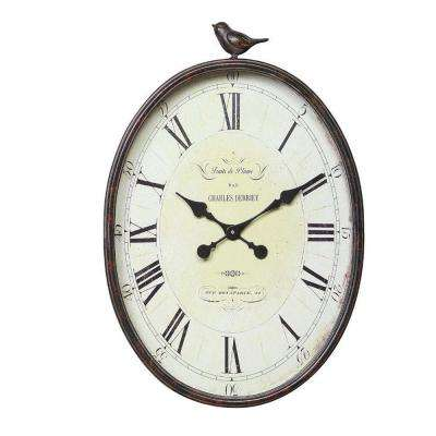 Traits de Plume 22.25 in. H x 17 in. W Oval Wall Clock with Bird