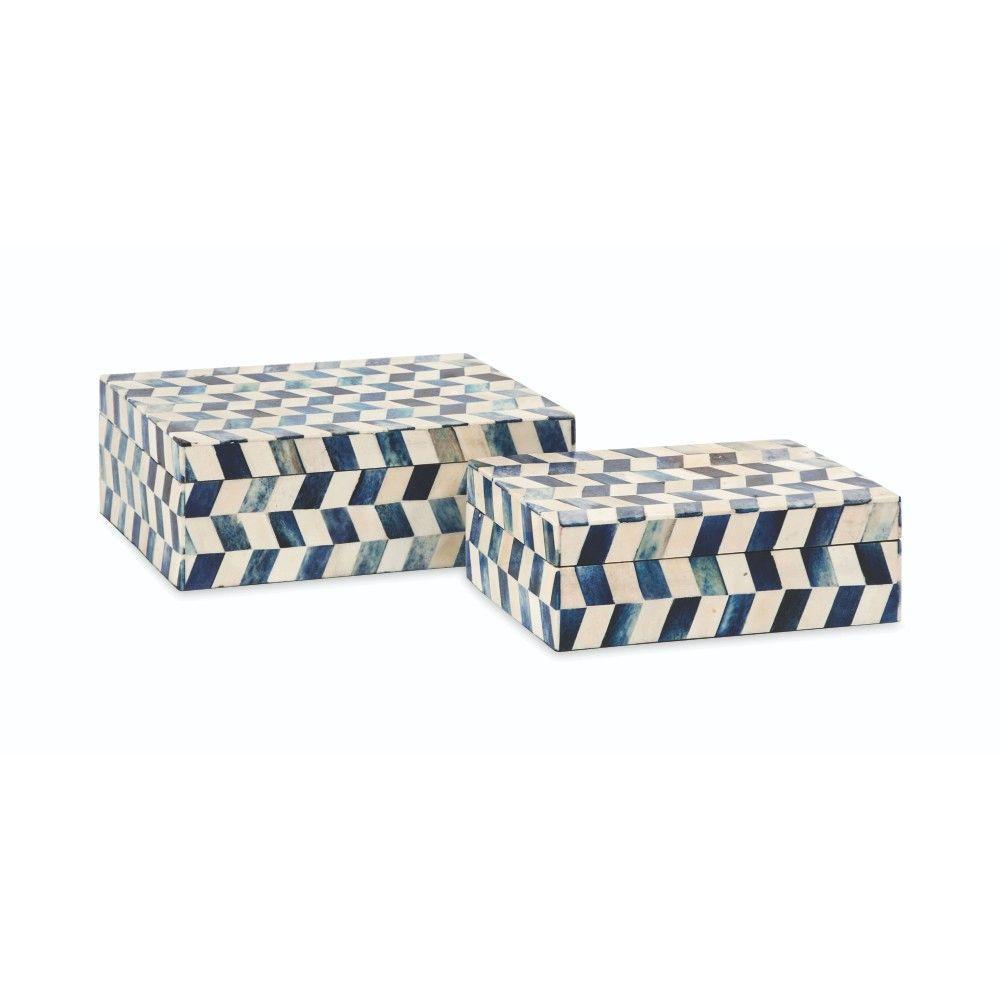 8.5 in. x 3 in. Blue Eliza Bone Box (Set of 2)