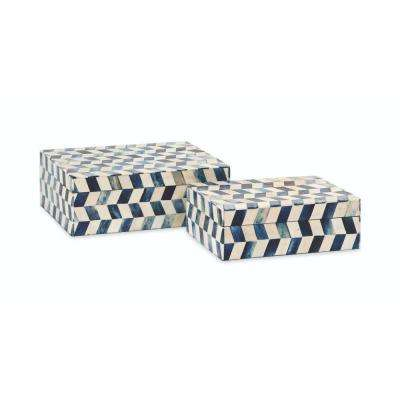 8.5 in. x 3 in. Blue Eliza Bone Box (Set of 2)