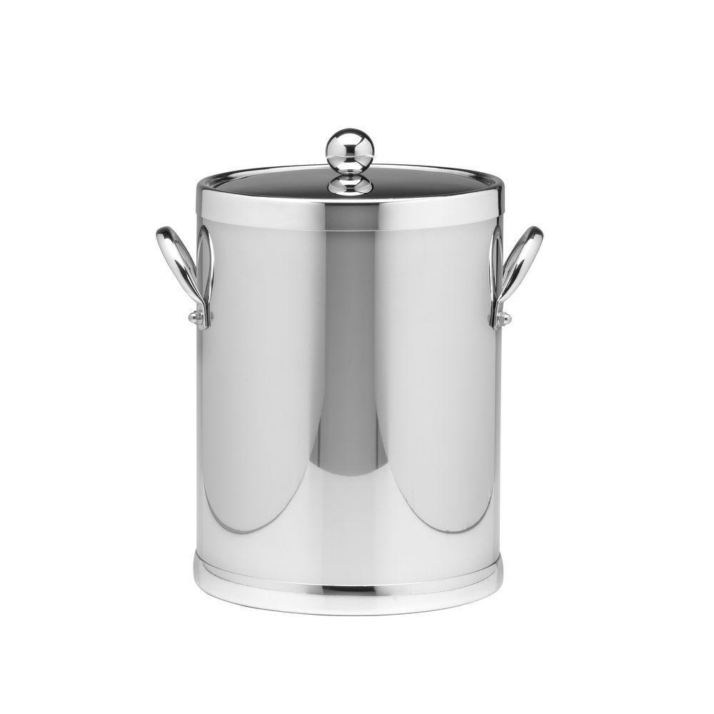 Kraftware Americano 5 Qt. Polished Chrome Ice Bucket and Lid, Metal Side Handles