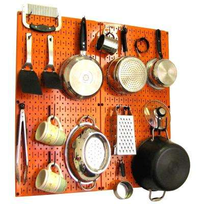 Kitchen Pegboard 32 in. x 32 in. Metal Peg Board Pantry Organizer Kitchen Pot Rack Orange Pegboard and Blue Peg Hooks