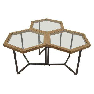 20 in. Metal Accent Table Finished in Brown (Set of 3)
