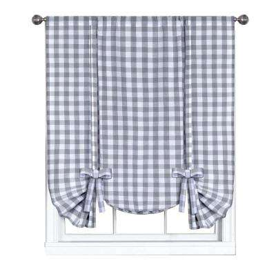 42 in. W x 63 in. L Buffalo Grey Cotton Tie Up Shade Curtain
