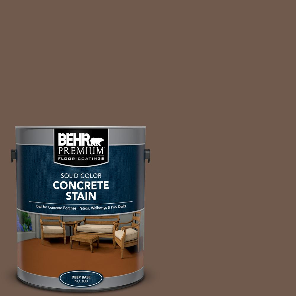 BEHR PREMIUM 1 gal. #PFC-35 Rich Brown Solid Color Flat Interior/Exterior Concrete Stain