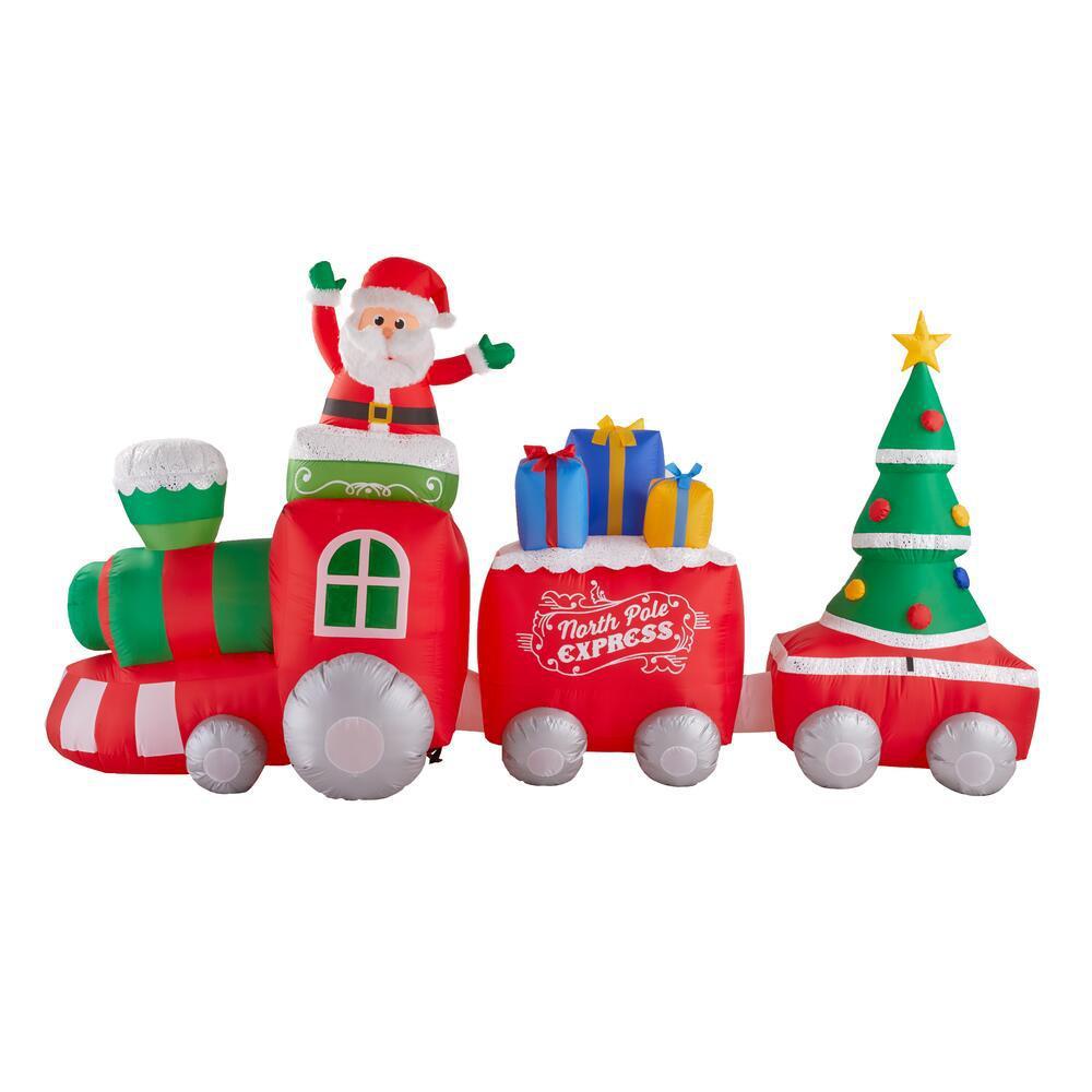 6.30 ft. Inflatable Fuzzy Plush Train Scene