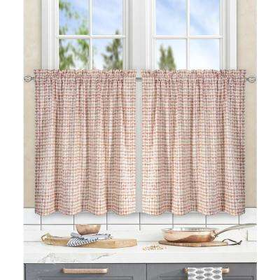 Davins Clay Cotton Twill Tailored Tier Curtain - 56 in. W x 36 in. L