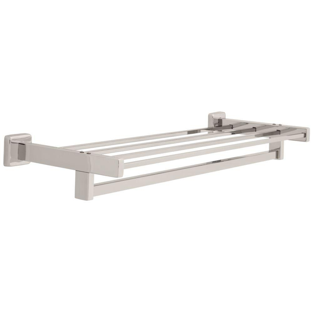 Franklin Brass Century 24 in. Towel Shelf with Towel Bar in Bright ...