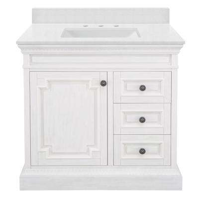 Cailla 37 in. W x 22 in. D Bath Vanity in White Wash with Engineered Marble Vanity Top in Snowstorm with White Sink