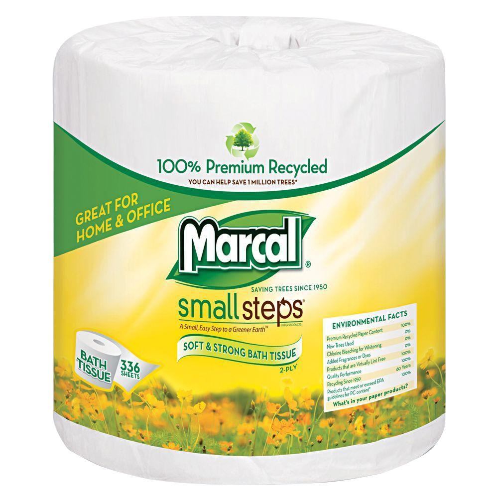 Marcal 100% Recycled 4.3 in. x 3.66 in. Bath Tissue 2-Ply (48-Rolls)