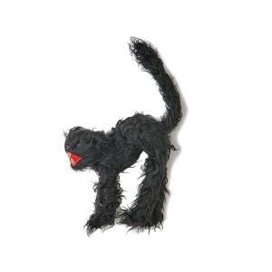12 in. Black Scary Fury Cat (Set of 2)