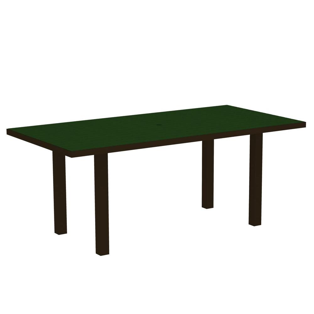 Euro Textured Bronze 36 in. x 72 in. Patio Dining Table