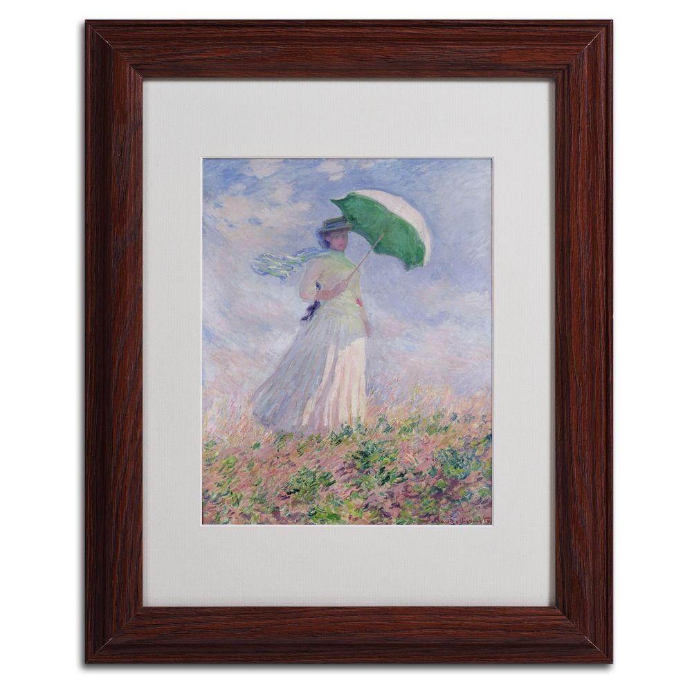 Trademark Fine Art 11 in. x 14 in. Woman with a Parasol Matted Brown Framed Wall Art