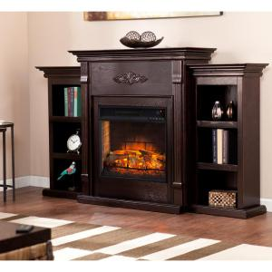 Greenfield 70.25 inch Infrared Electric Fireplace with Bookcases in Classic Espresso by