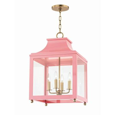 Leigh 4-Light 16 in. W Aged Brass/Pink Pendant with Clear Glass Panel