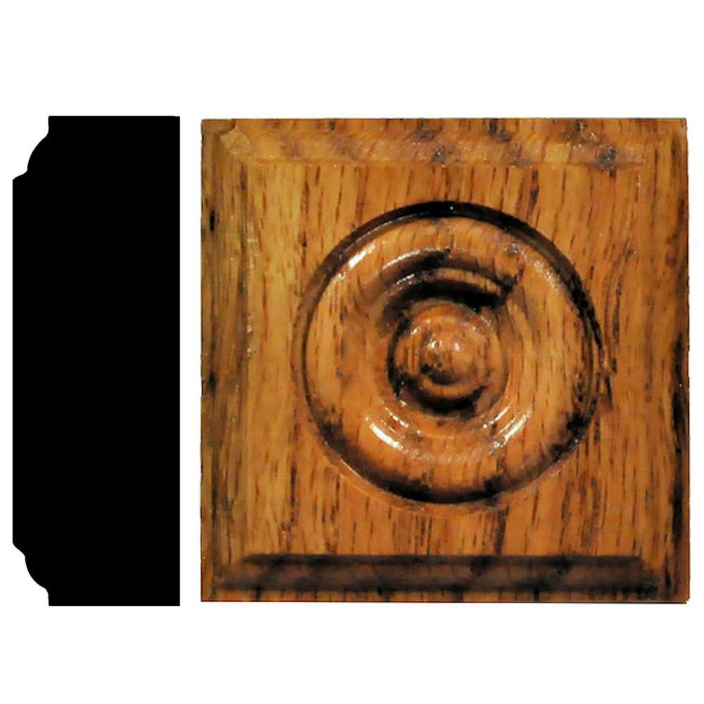 7/8 in. x 2-1/2 in. x 2-1/2 in. Oak Honey Oak Stained Rosette Block Moulding