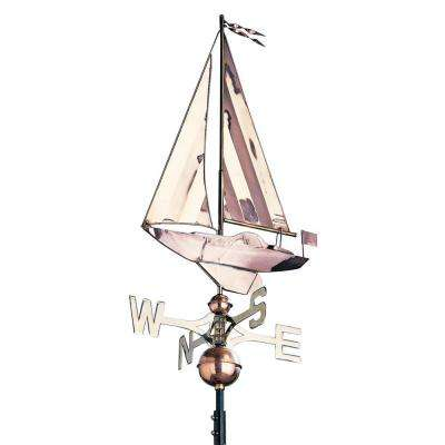 48 in. Polished Sailboat Copper Weathervane