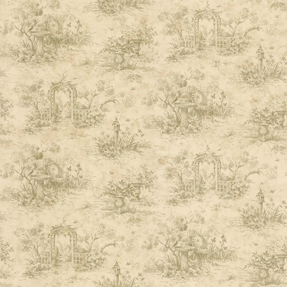 The Wallpaper Company 56 sq. ft. Sage Harlow Toile Wallpaper-DISCONTINUED
