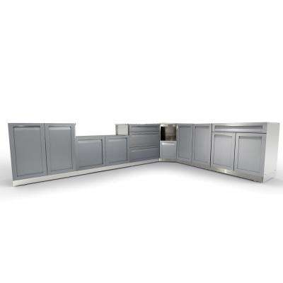 Stainless Steel 8-Piece 206x36x34 in. Outdoor Kitchen BBQ Cabinet Set with Powder Coated Doors in Gray