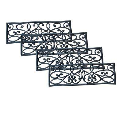 Black 9 in. x 30 in. Rubber Scrollwork Stair Tread Cover (Set of 4)