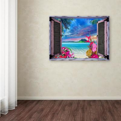 "35 in. x 47 in. ""Tropical Window to Paradise VII"" by Leo Kelly Printed Canvas Wall Art"