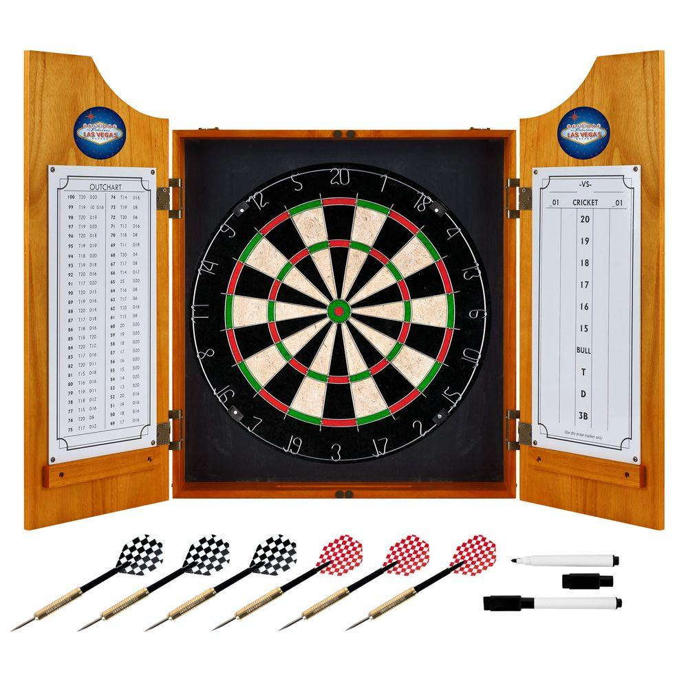 Wood Finish Dart Cabinet Set - Las Vegas