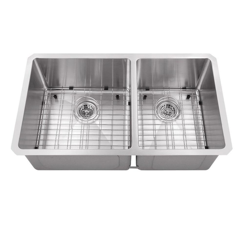 Undermount Stainless Steel 32 in. 60/40 Zero Radius Corner Double Bowl Kitchen Sink